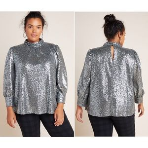 Anthropologie Luna Sequined Blouse Plus Size 1X